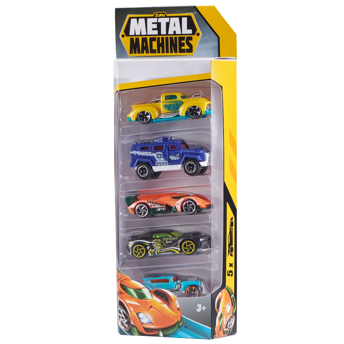 Set de 5 masinute Metal Machines, 1:64, Multicolor