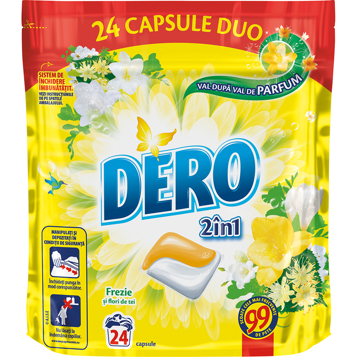 Detergent Duo Caps Frezie si flori de tei, 24 capsule imagine
