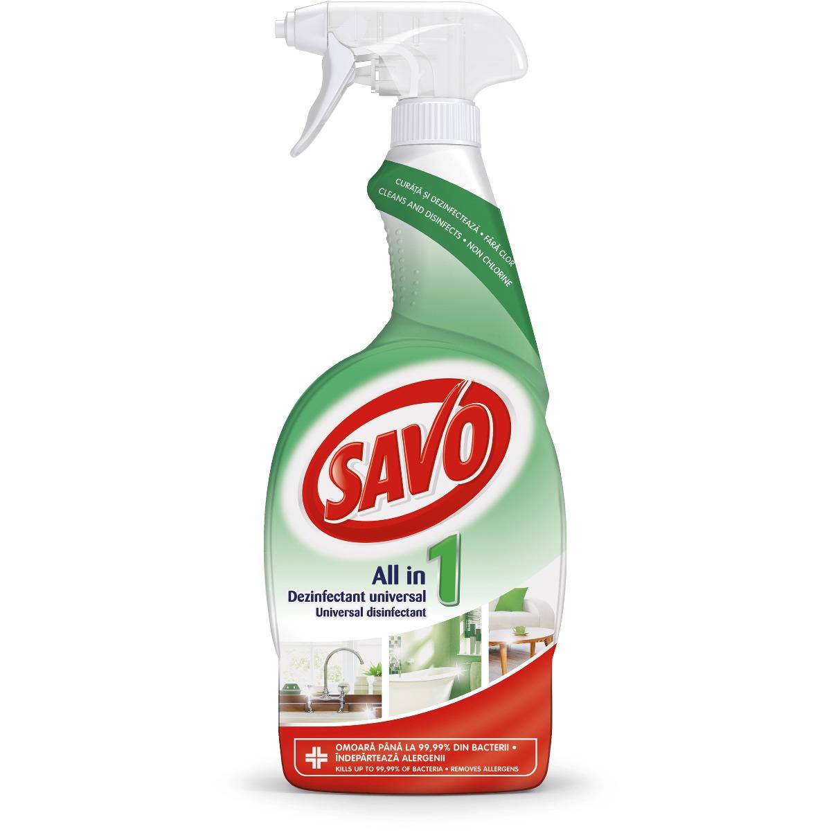 Spray dezinfectant fara clor universal Savo, 650 ml imagine