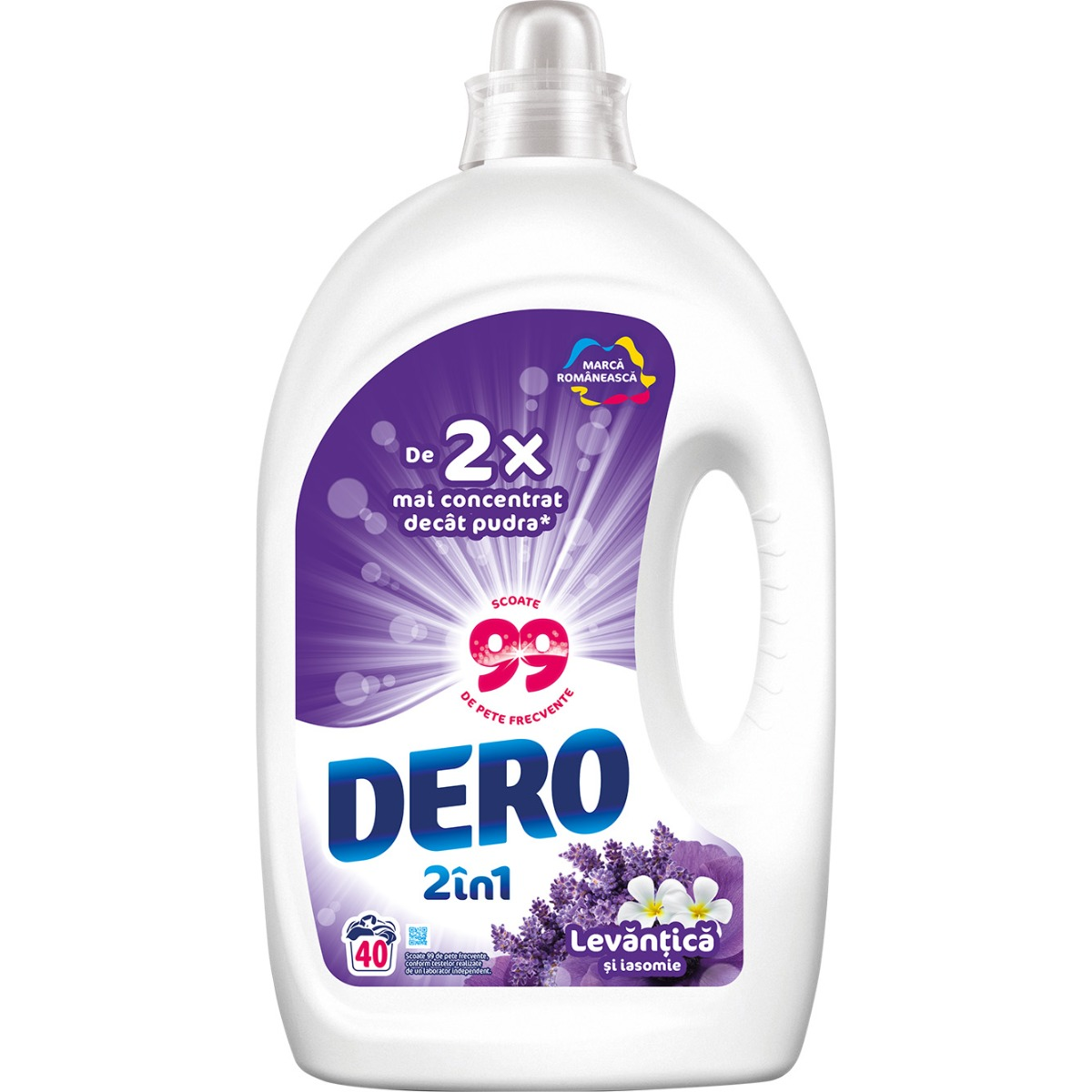 Detergent lichid Dero 2 in 1 Levantica, 40 spalari, 2 L imagine 2021