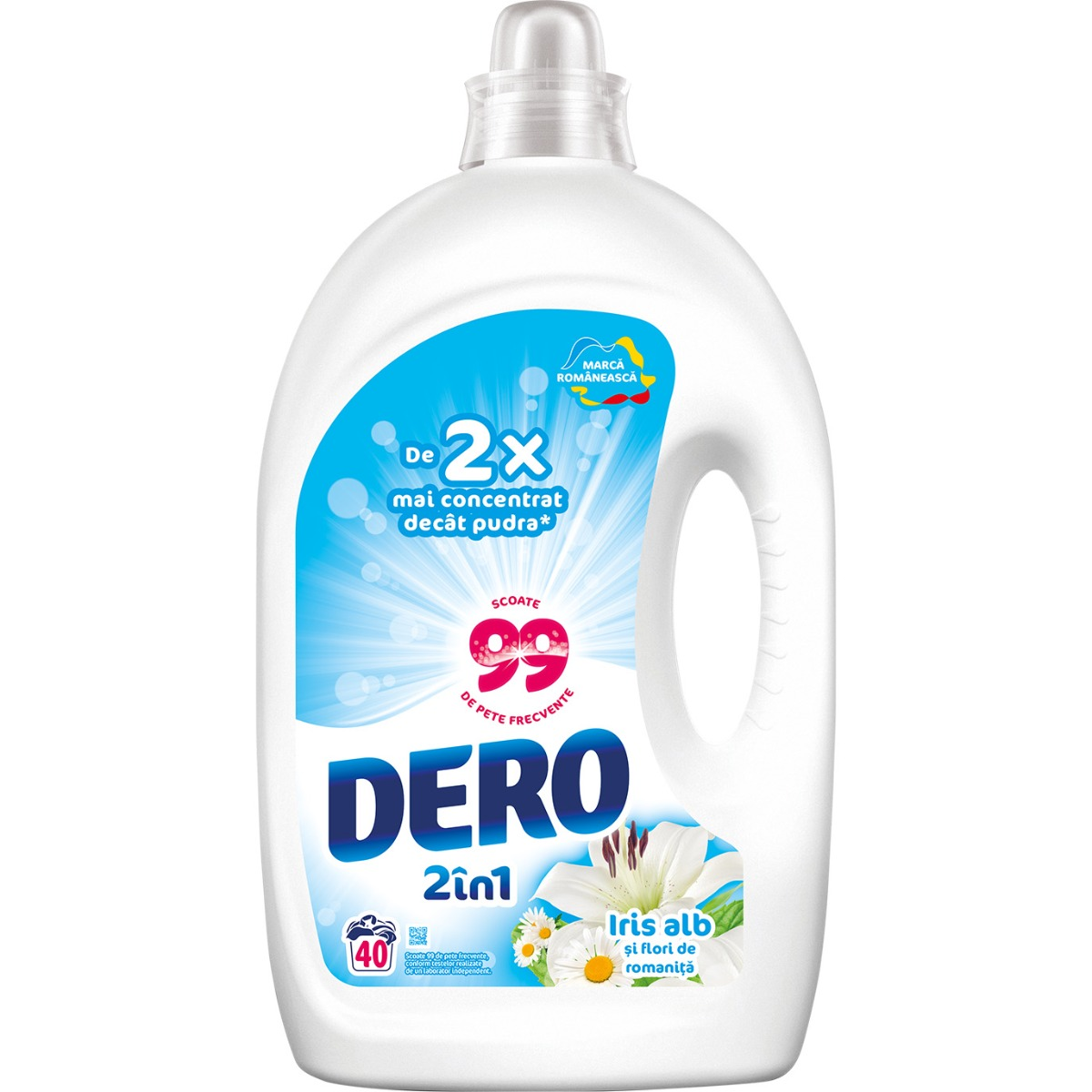 Detergent lichid Dero 2 in 1 Iris Alb, 40 spalari, 2 L imagine 2021