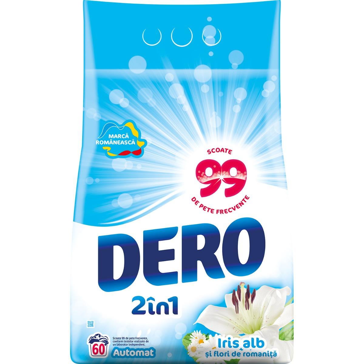 Detergent automat Dero 2 in 1 Iris Alb, 60 spalari, 6 kg imagine 2021