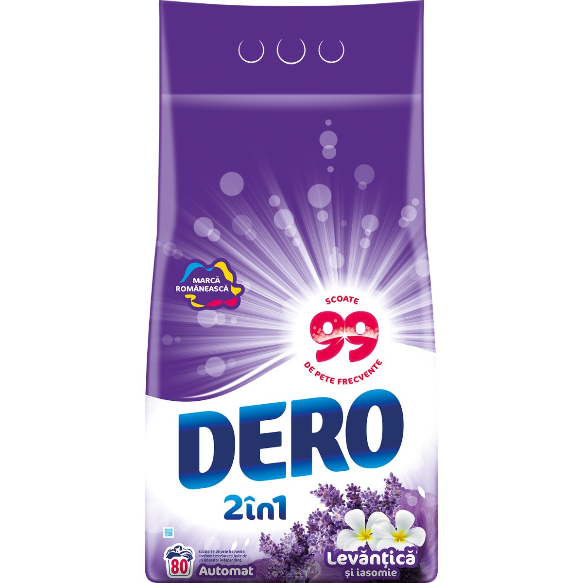 Detergent automat Dero 2 in 1 Levantica, 80 spalari, 8 kg imagine 2021