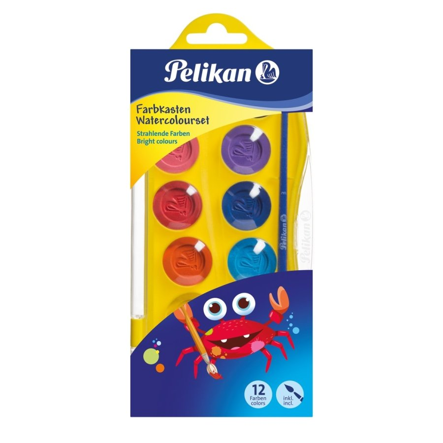 Acuarele Pelikan Junior, 12 culori si pensula