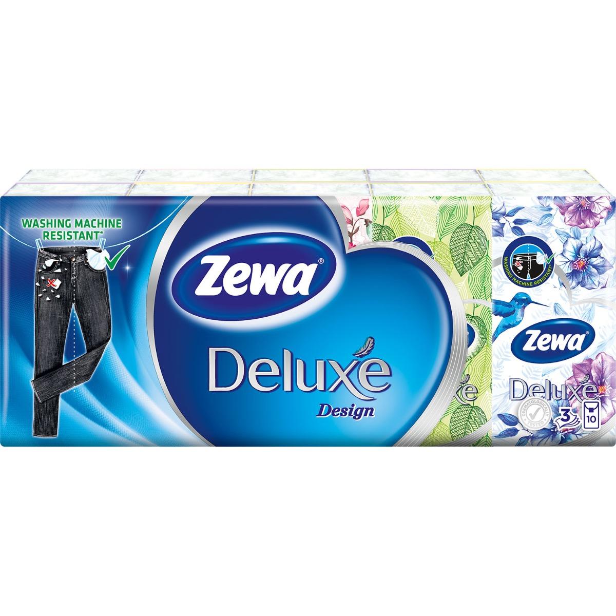 Set batiste nazale Zewa Deluxe Design, 3 straturi, 10x10 bucati imagine
