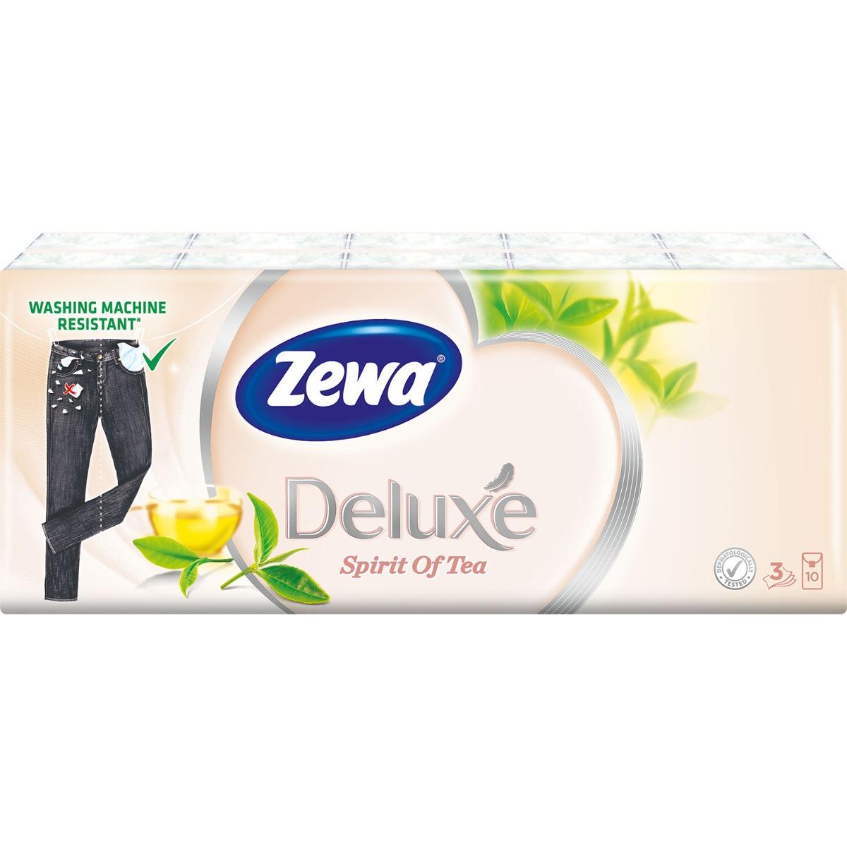 Set Batiste nazale Zewa Deluxe Spirit of tea, 3 straturi, 10x10 bucati imagine