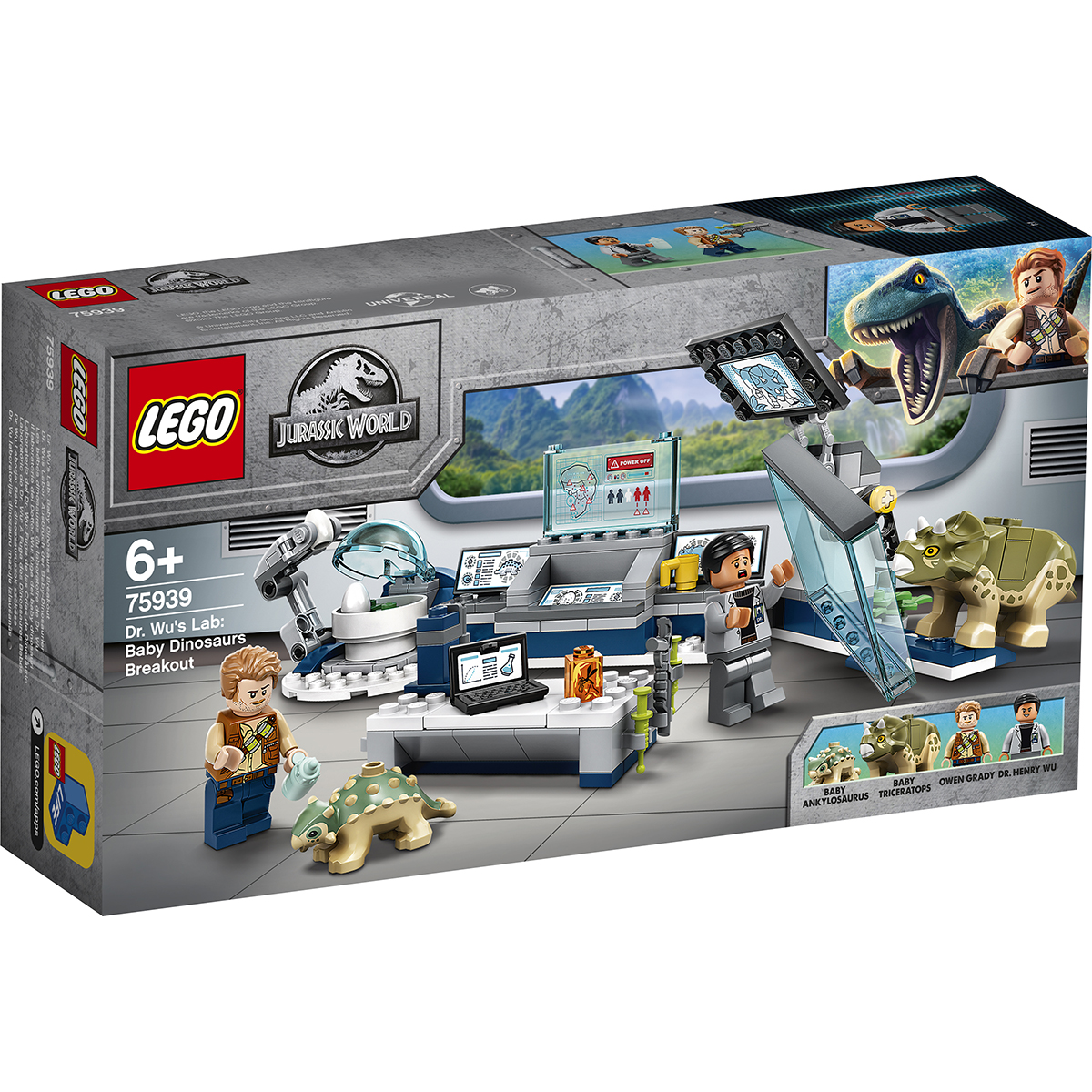 LEGO® Jurassic World - Laboratorul Dr. Wu: evadarea puilor de dinozaur (75939)