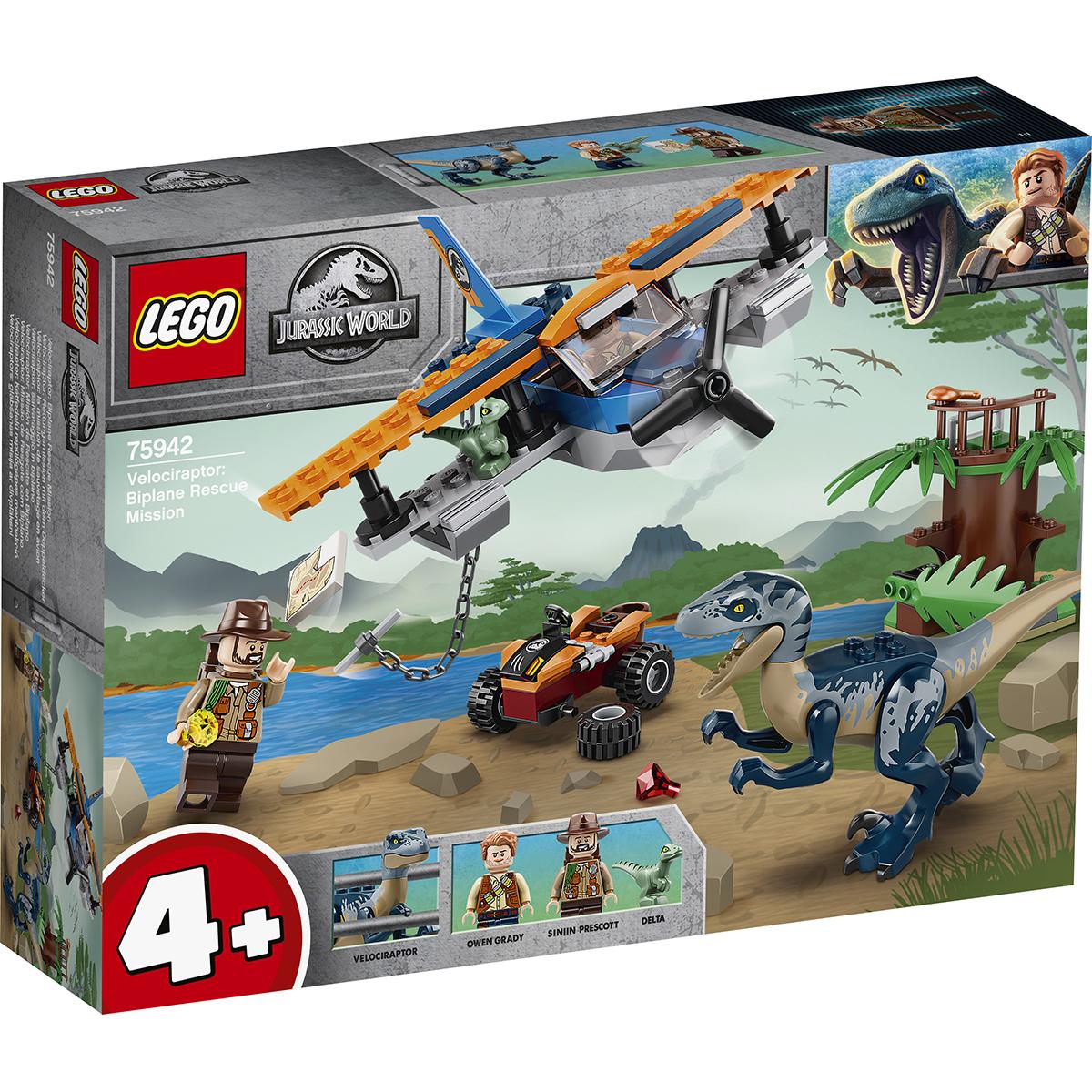 LEGO® Jurassic World - Velociraptor: misiunea de salvare cu biplanul (75942)