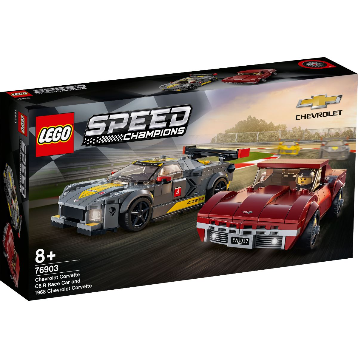 LEGO® Speed Champions - Masina de curse Chevrolet Corvette C8.R si 1968 Chevrolet Corvette (76903)