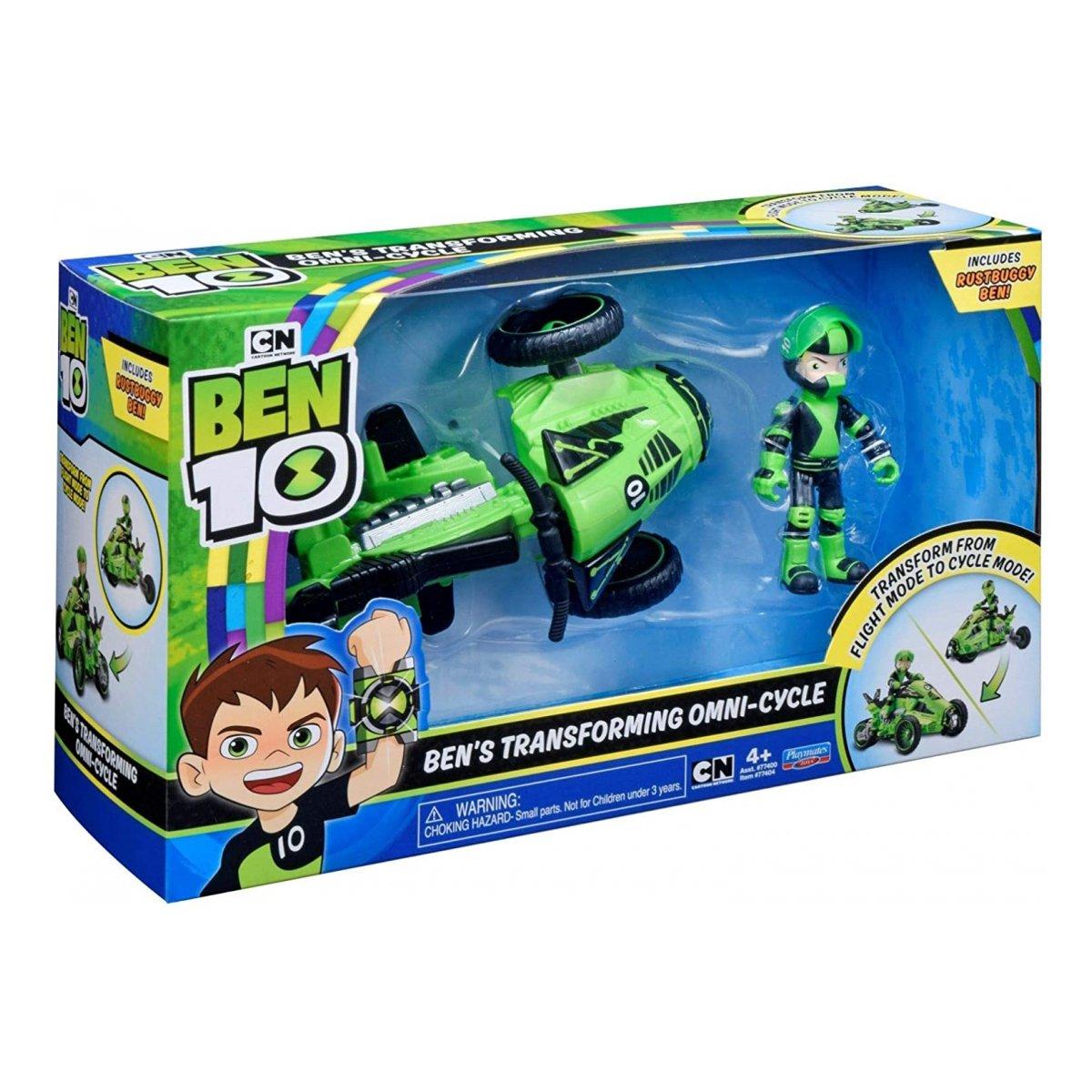 Set de joaca Ben 10, Vehicul extraterestru cu figurina - Ben Transforming Omny-Cycle