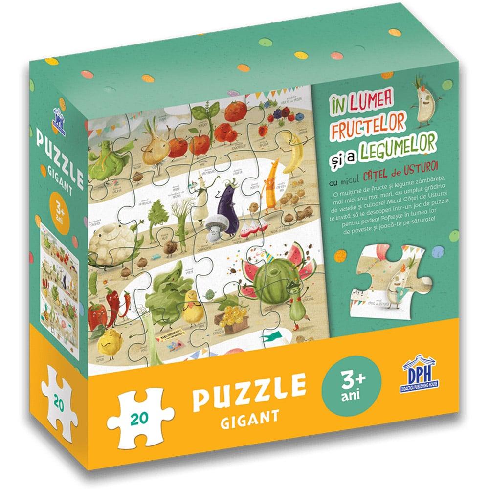 Editura DPH, In lumea fructelor si a legumelor cu micul catel de usturoi - puzzle gigant