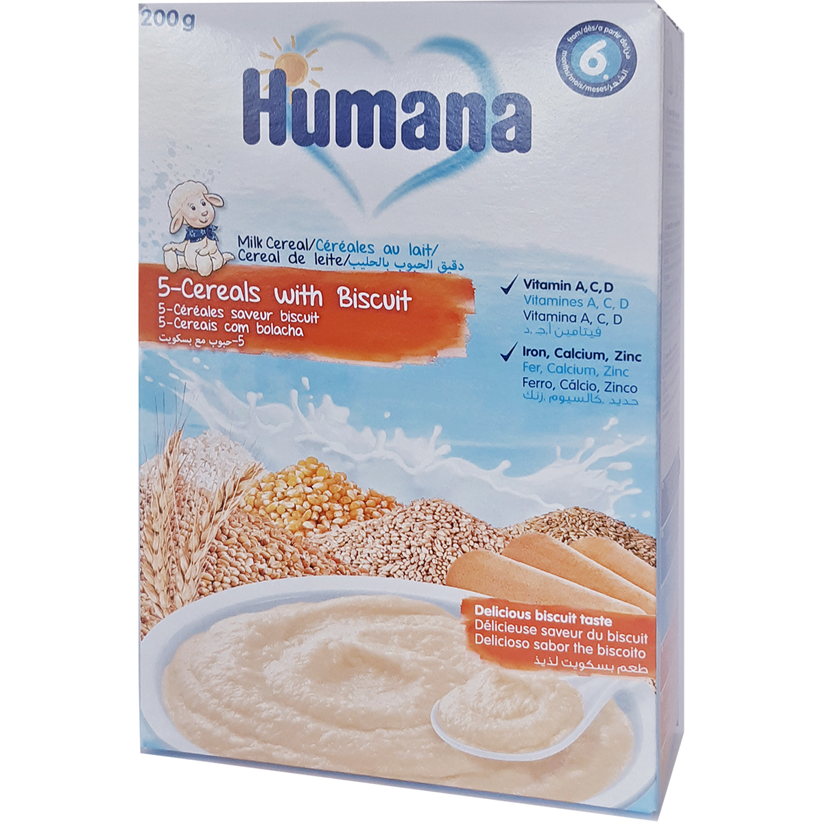 Cereale Humana 5 cereale cu lapte si biscuiti, 200g, 6 luni+ imagine
