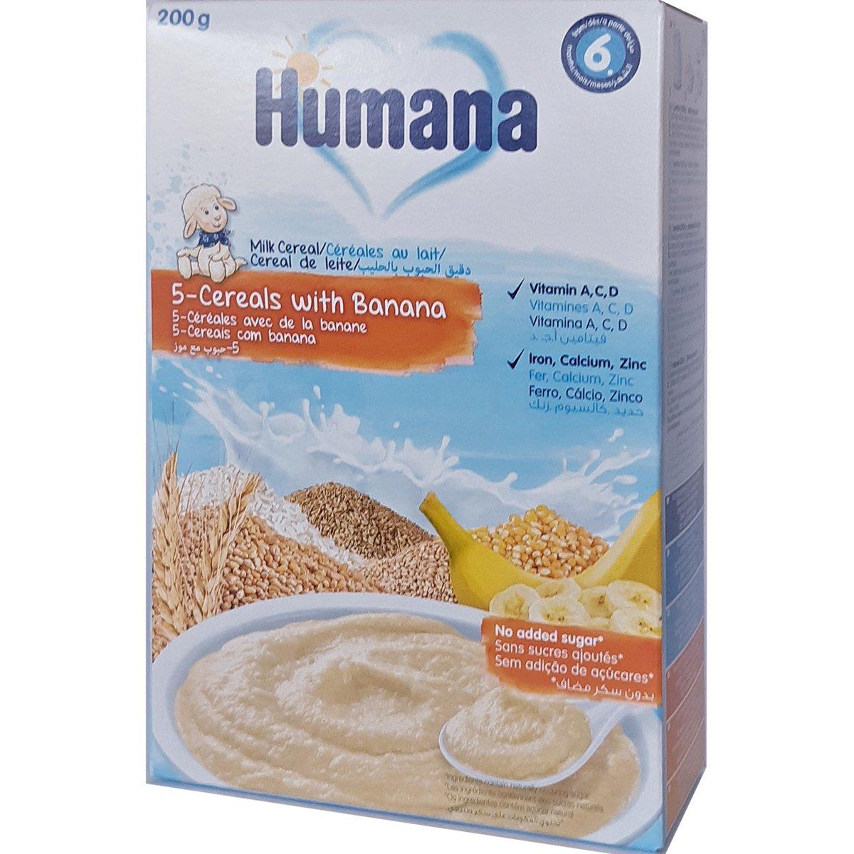 Cereale cu 5 cereale si banane Humana, 200 g, 6 luni+ imagine