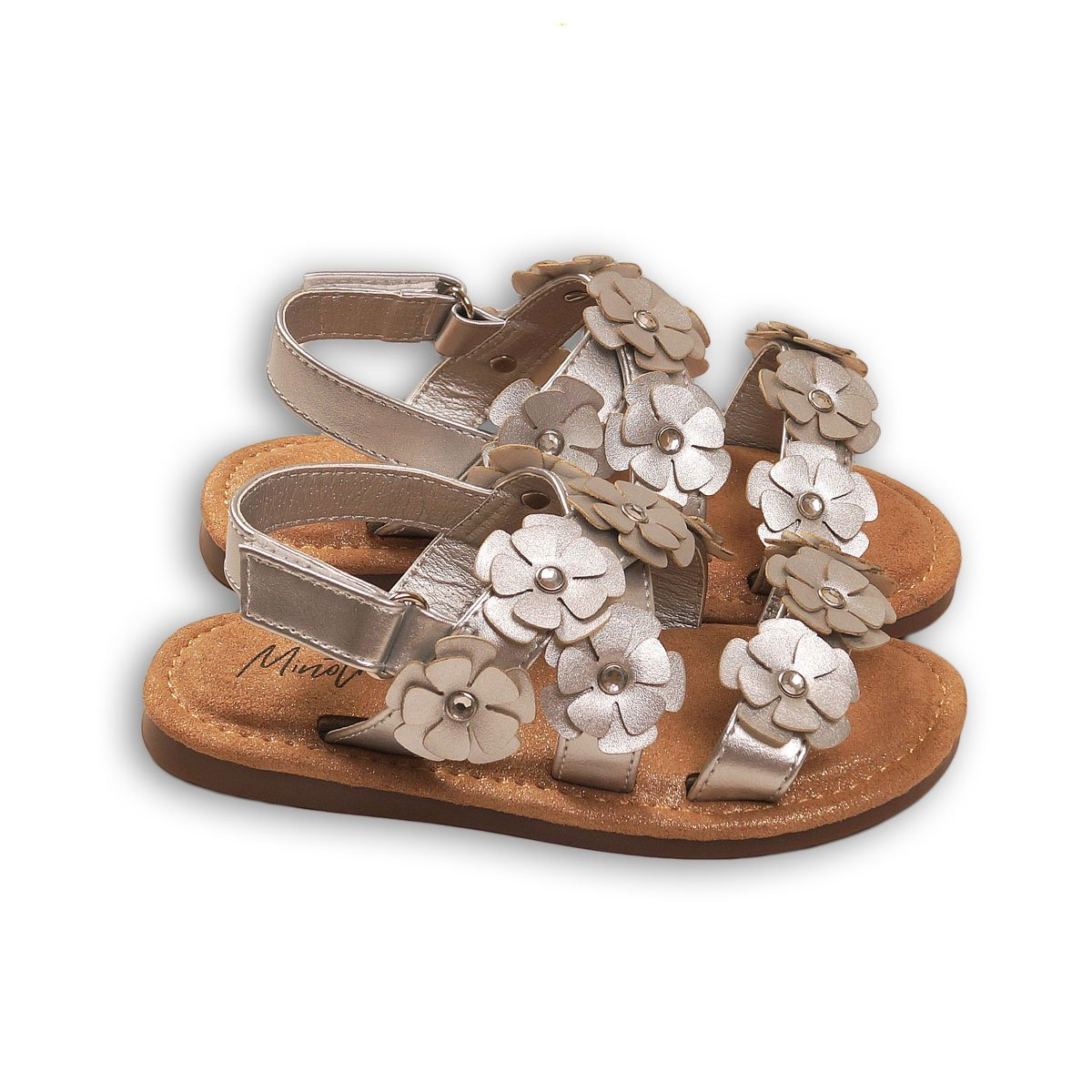 Sandale cu banda elastica si flori, Minoti Shoe