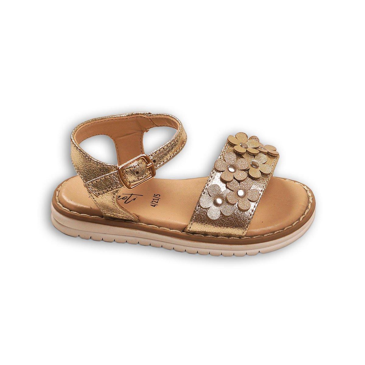 Sandale cu imprimeu de flori si inchidere in curea la glezna, Minoti Shoe