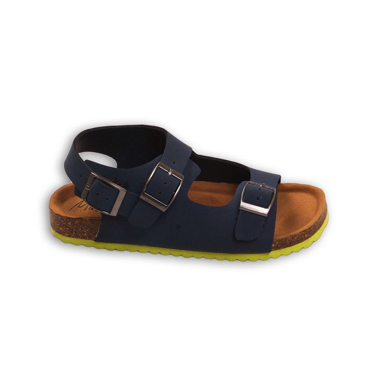 Sandale in curele duble cu catarame si banda galbena, Minoti Shoe