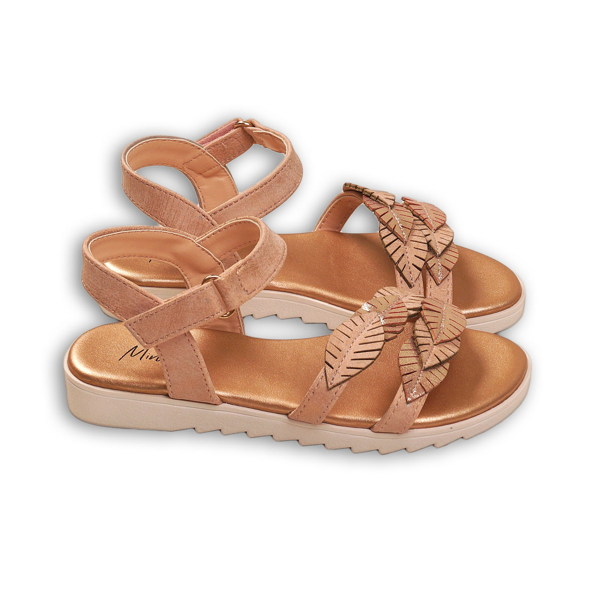 Sandale cu detaliu de frunze si inchidere in curea la glezna, Minoti Shoe