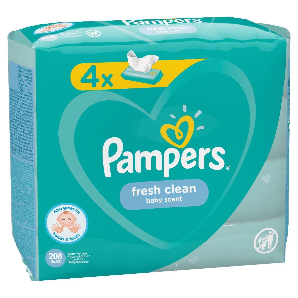 Servetele Pampers Baby Fresh, 4 pachete x 52 buc imagine