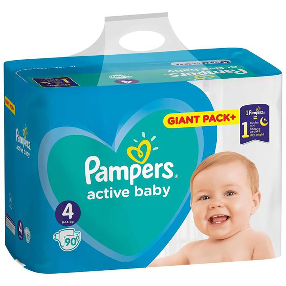 Scutece Pampers Active Baby, Nr 4, 9 - 14 Kg, 90 buc imagine