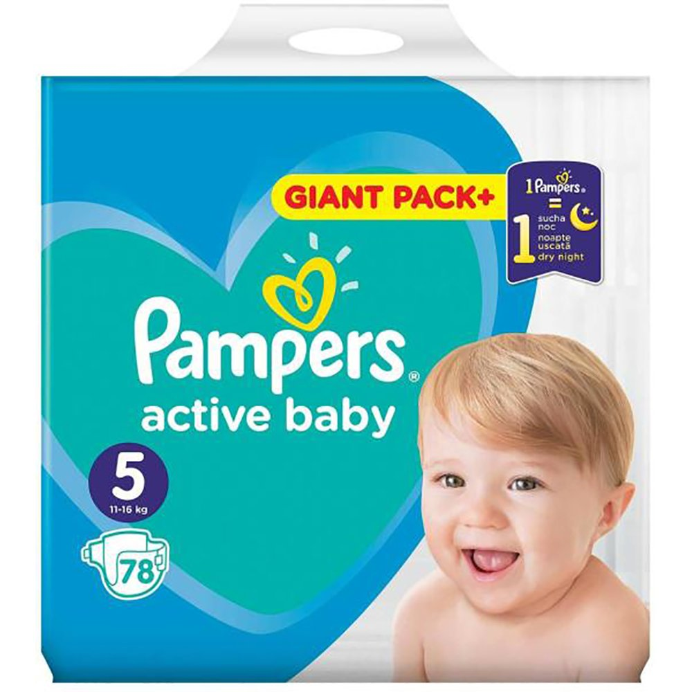 Scutece Pampers Active Baby, Nr 5, 11 - 16 kg, 78 buc imagine 2021