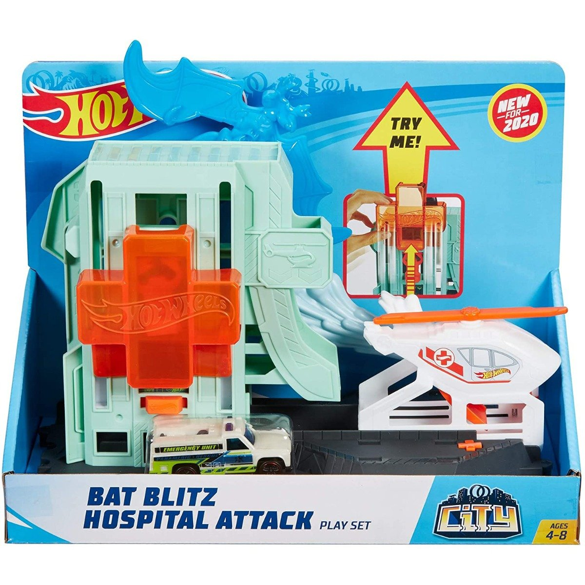 Set de joaca Circuit cu obstacole Hot Wheels City, Bat Blitz Hospital Attack (GJK90)