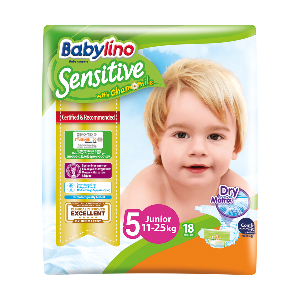 Scutece Babylino Sensitive, N5, 11-25kg, 18 Buc.