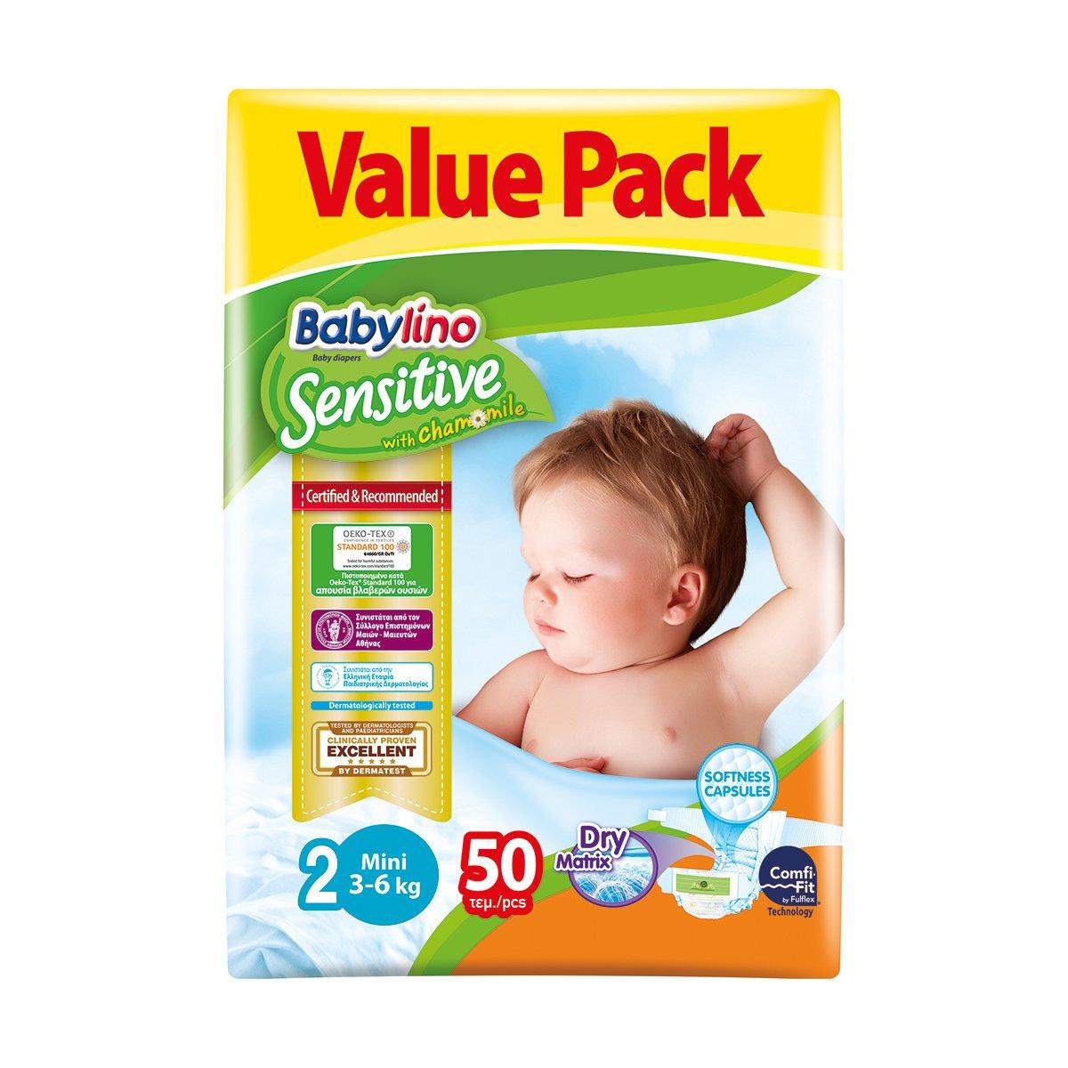 Scutece Babylino Sensitive Economy, N2, 3-6 kg, 50 Buc.