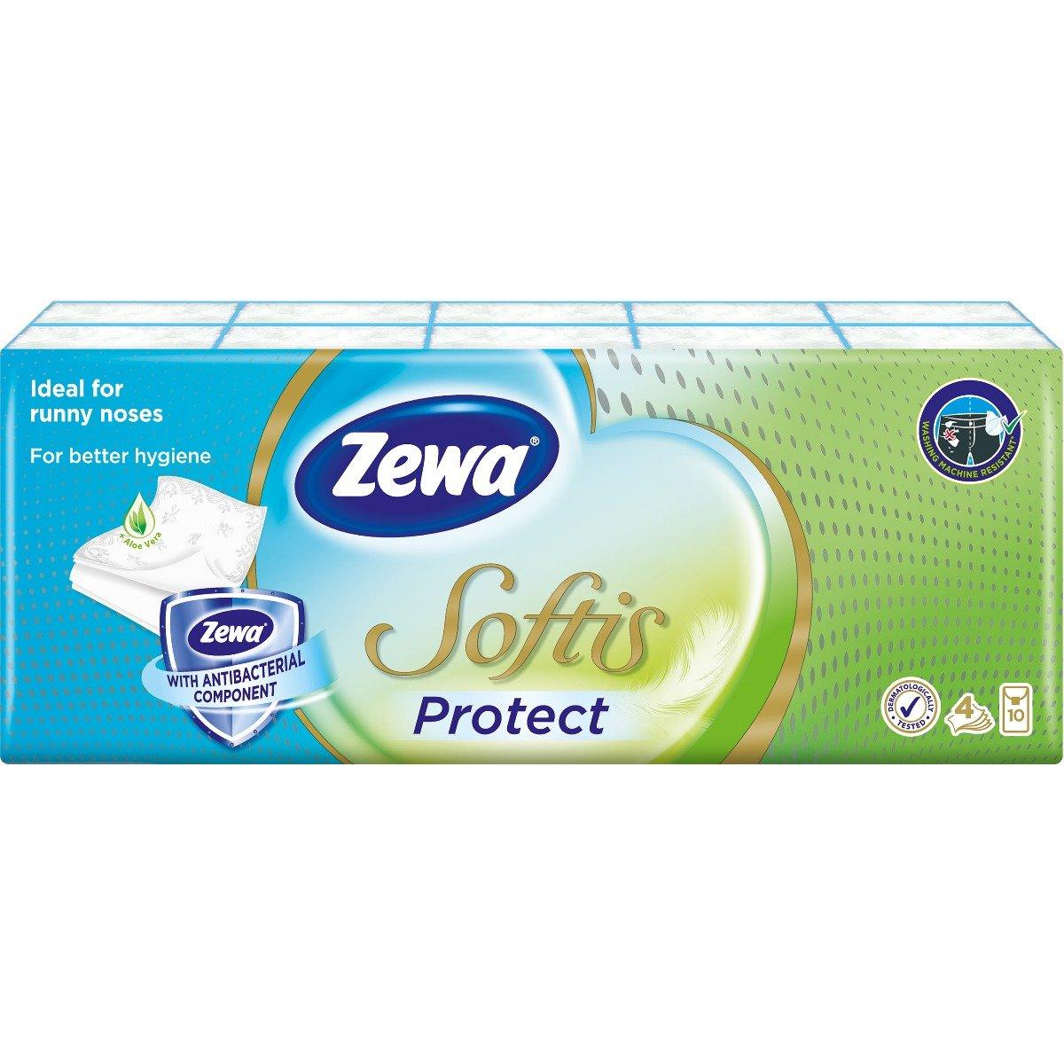 Set Batiste nazale Zewa Softis Protect, 4 straturi, 10 pachete imagine