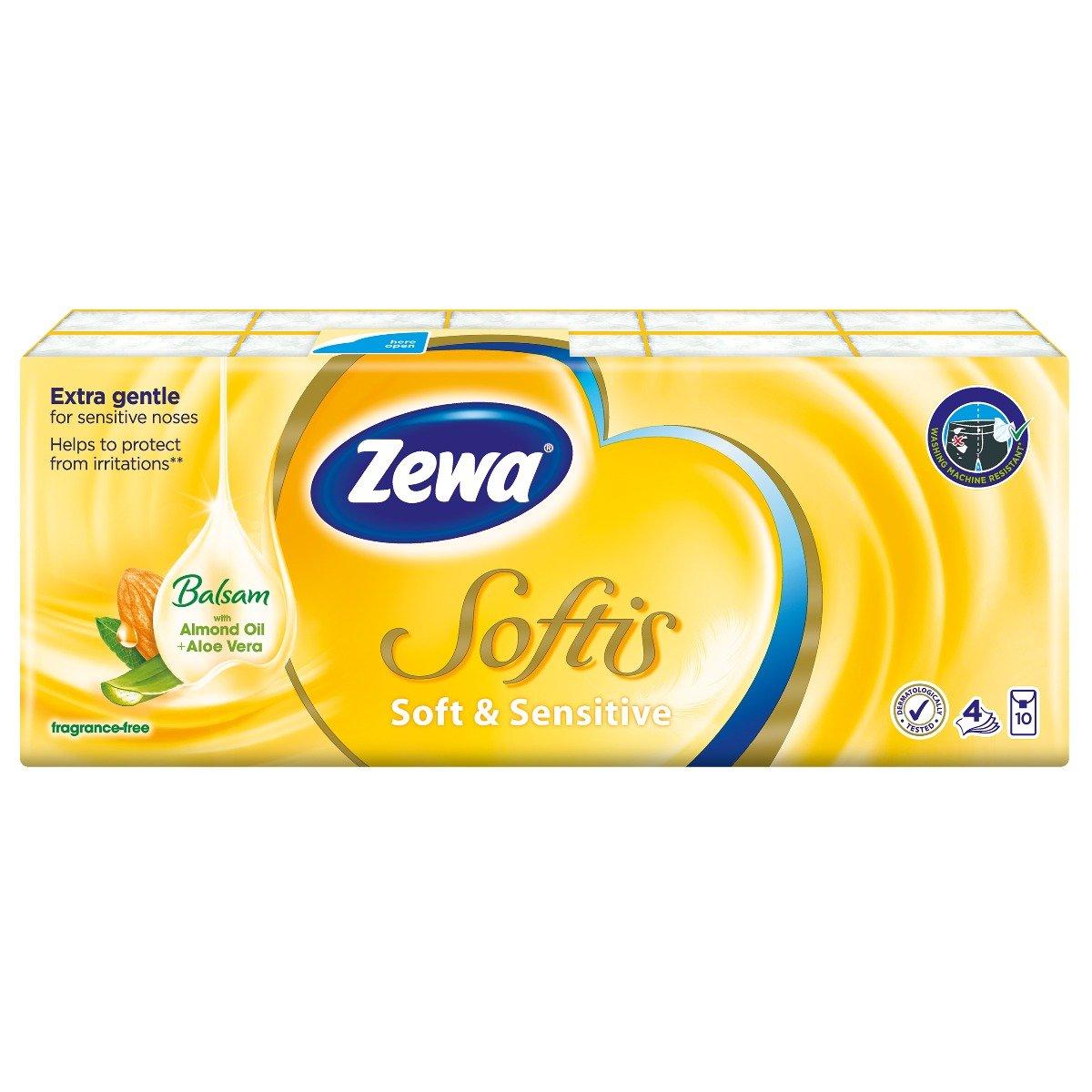 Set Batiste nazale Zewa Softis Soft and Sensitive, 4 straturi, 10 pachete imagine