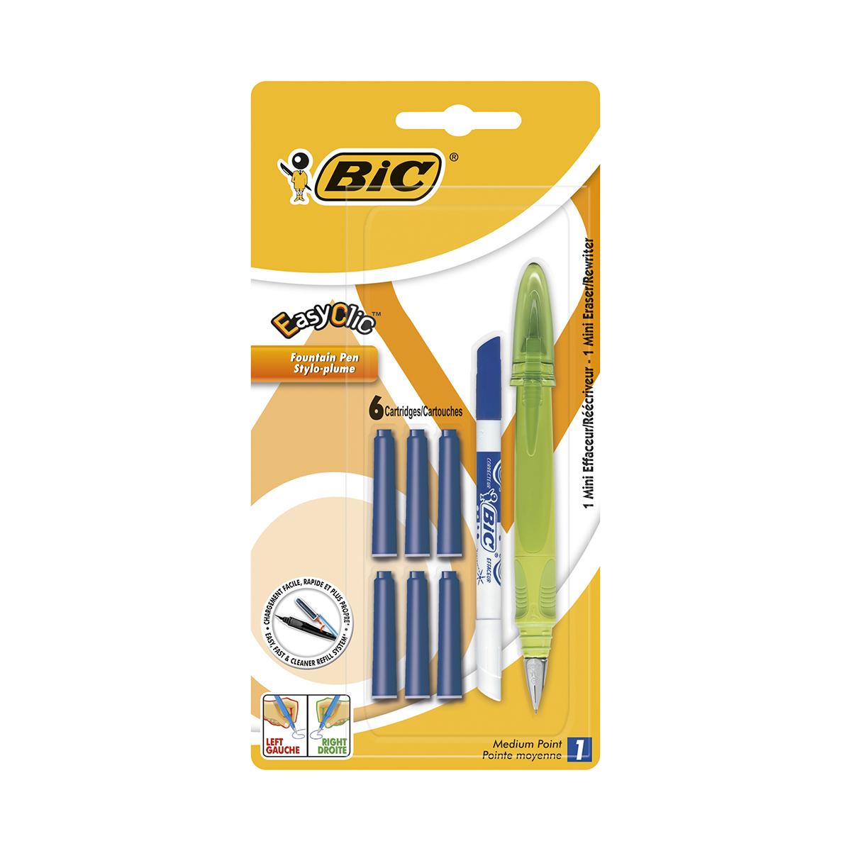 Stilou cu 6 rezerve si mini pic Easy Clic Standard Bic, Verde