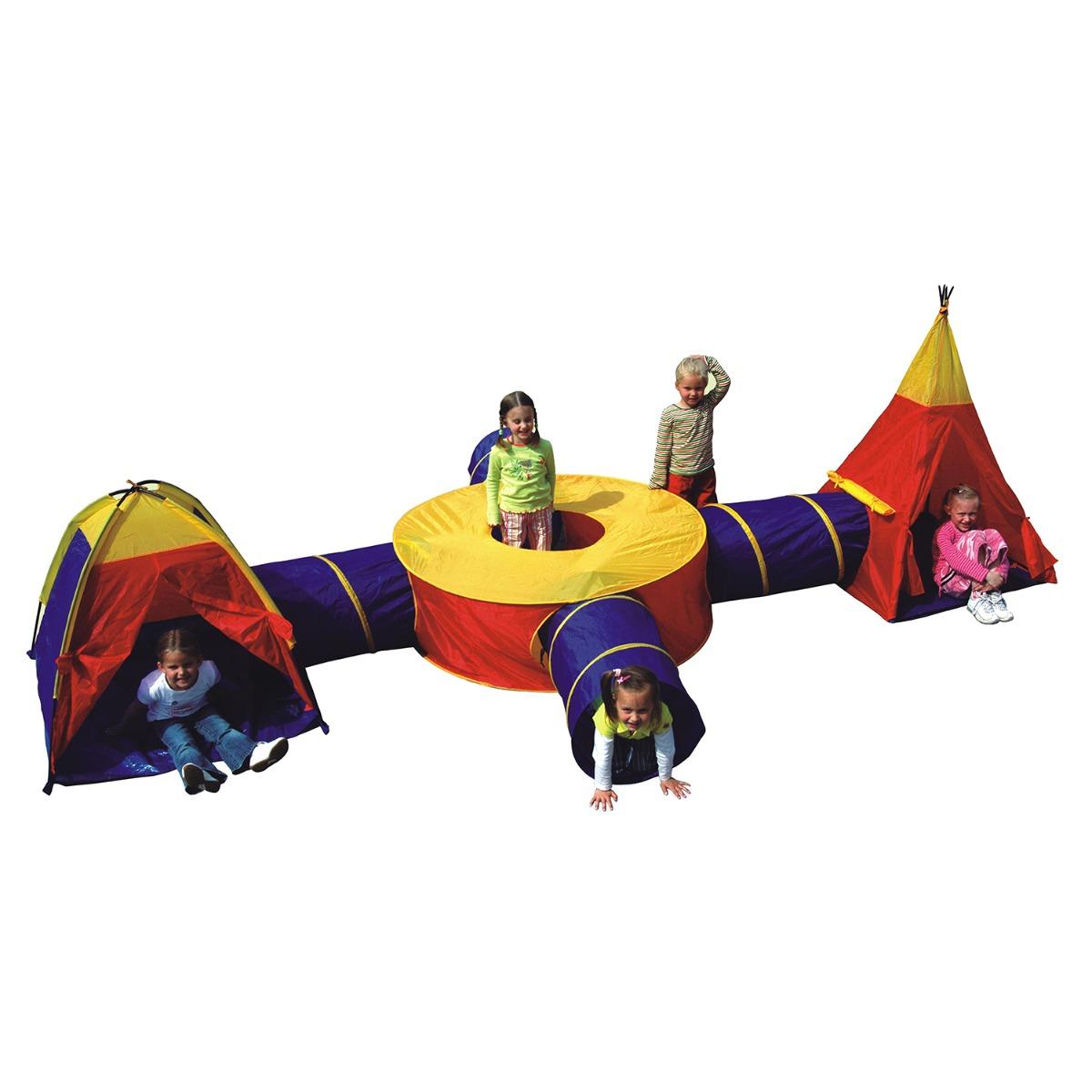 Set de joaca Cort cu tuneluri pentru copii Iplay-Toys Adventure Tunnel