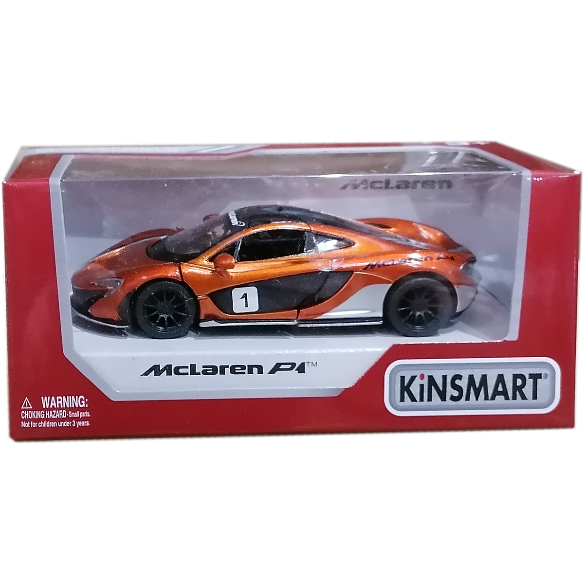 Masinuta din metal Kinsmart, McLaren P1, Portocaliu
