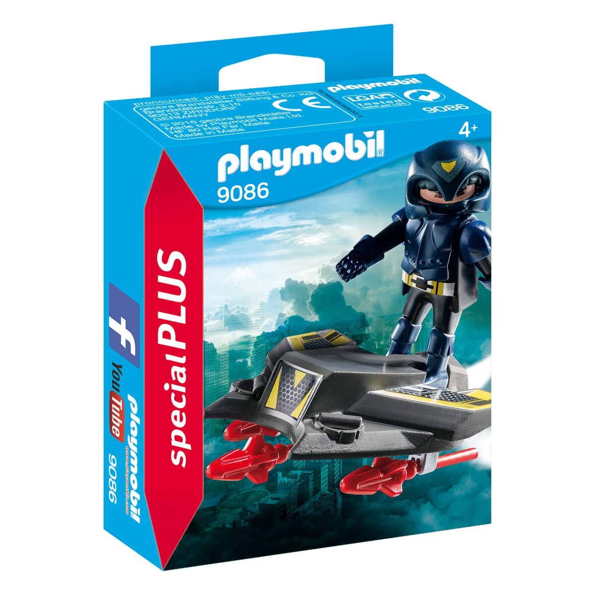 figurina playmobil special plus - cavaler cu jet sky zburator (9086)