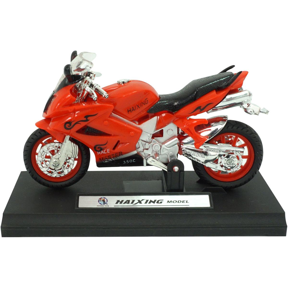 Motocicleta cu lumini si sunete Unika Toy, Rosu, 13 cm