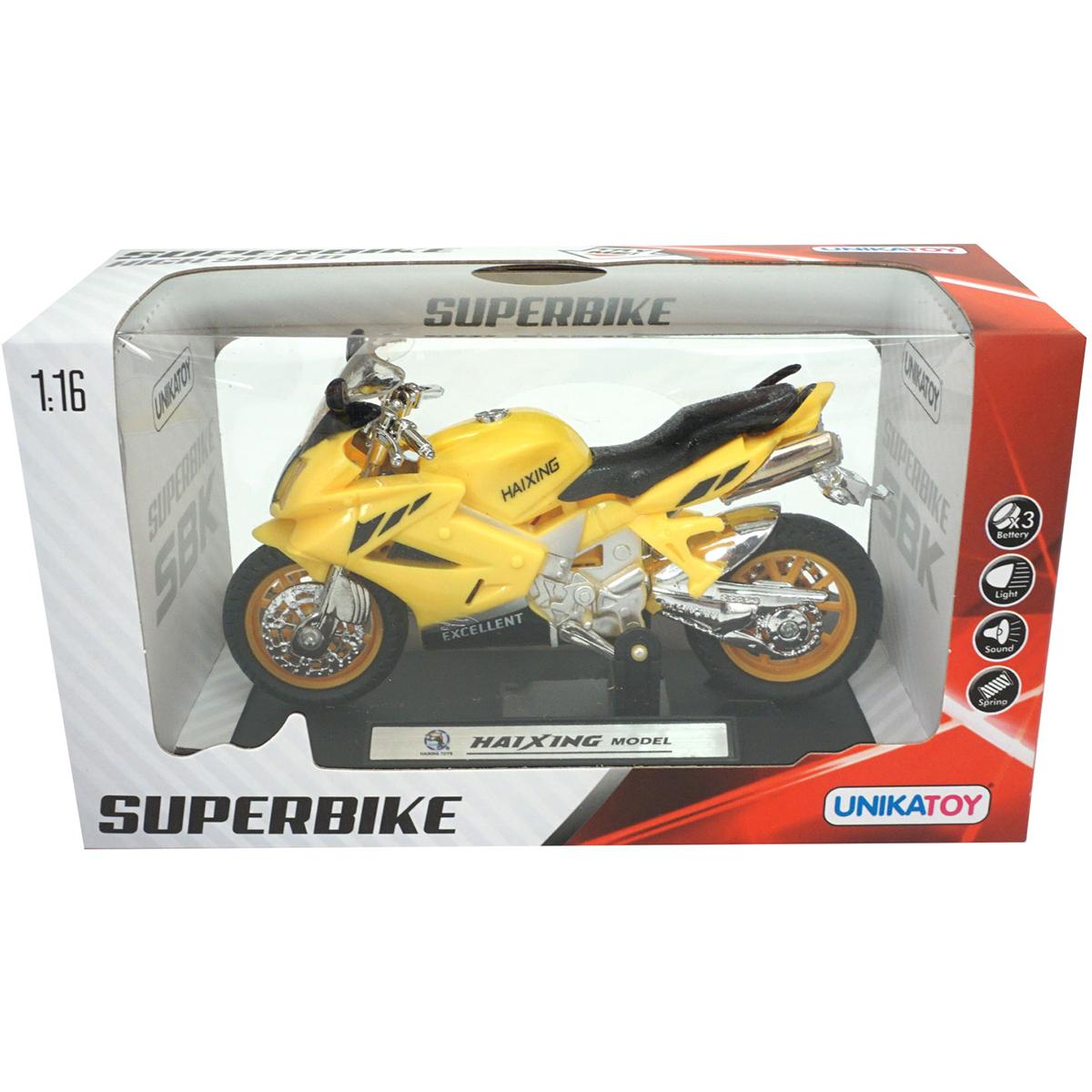 Motocicleta cu lumini si sunete Unika Toy, Galben, 13 cm