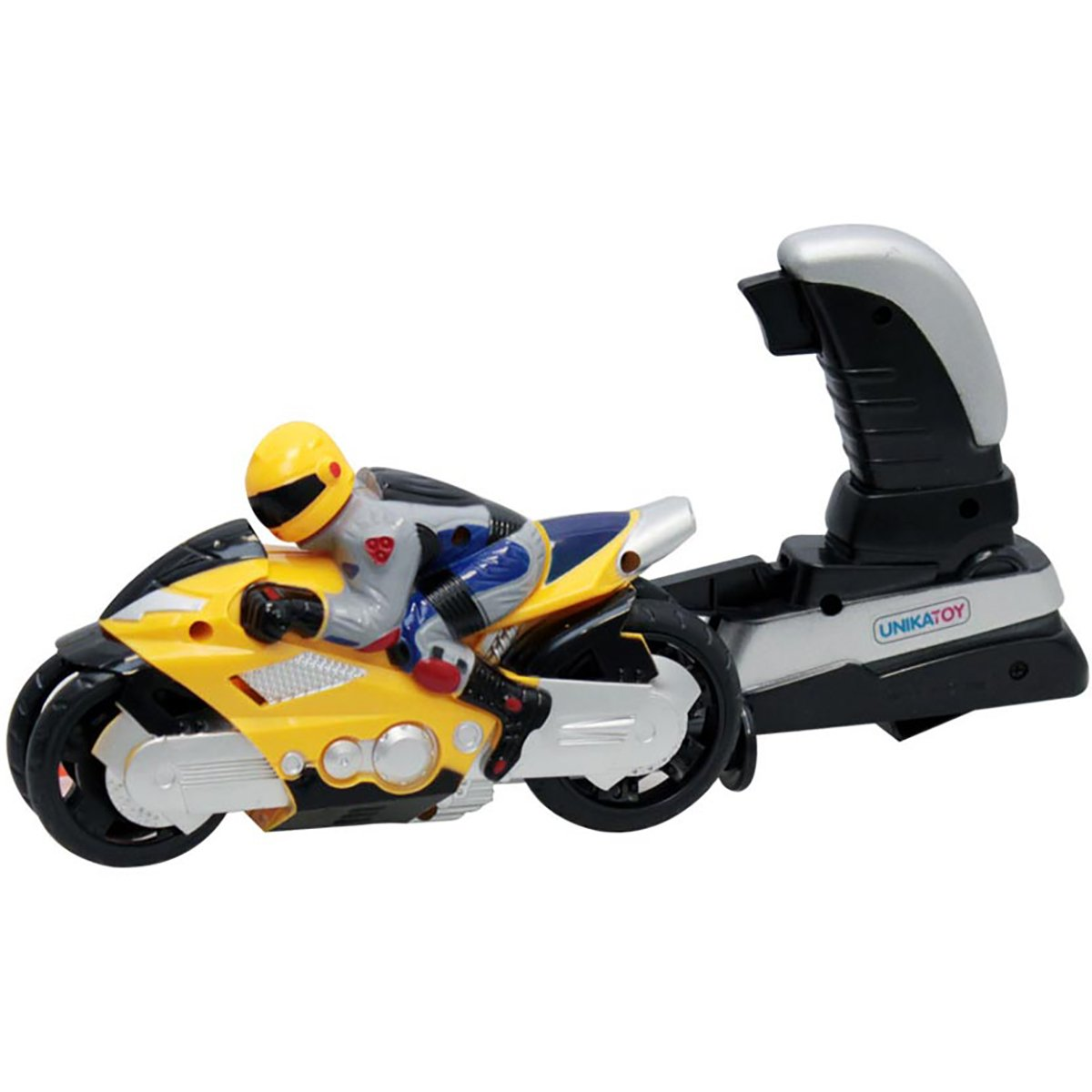 Motocicleta cu figurina si lansator Unika Toy, Galben