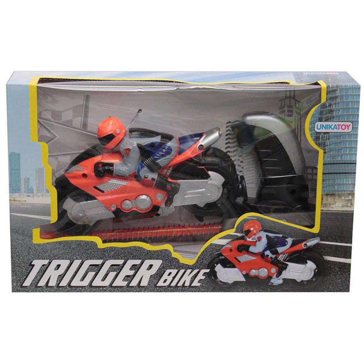 Motocicleta cu figurina si lansator Unika Toy, Portocaliu