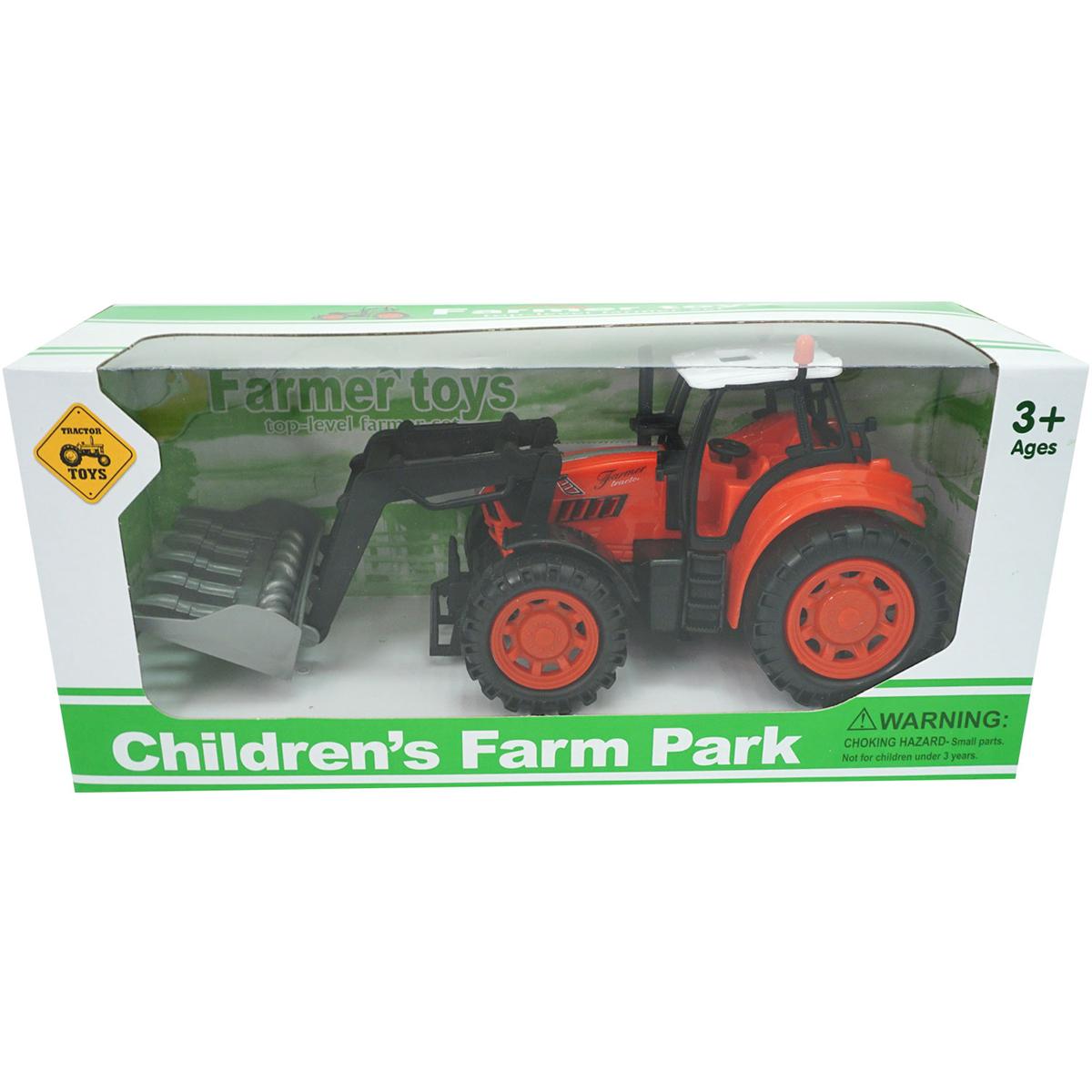 Tractor Farm Unika Toy, Rosu, 25 cm