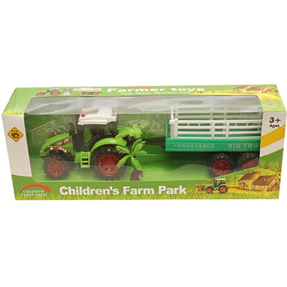 Tractor cu remorca Unika Toy, Verde