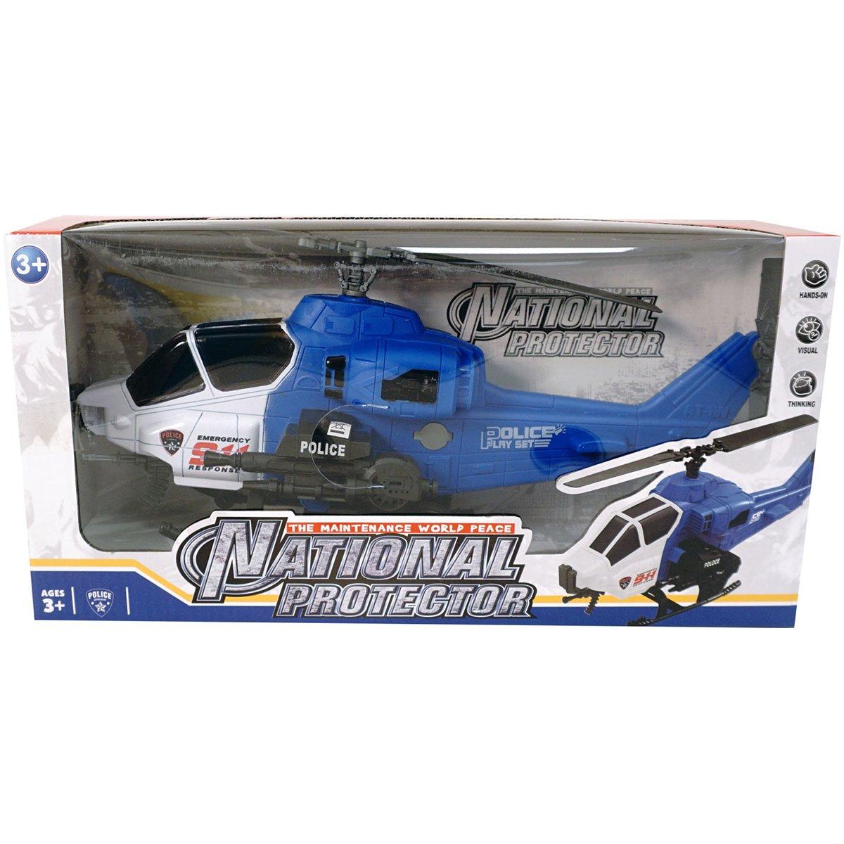 Elicopter cu semnale luminoase Unika Toy, Albastru, 36 cm