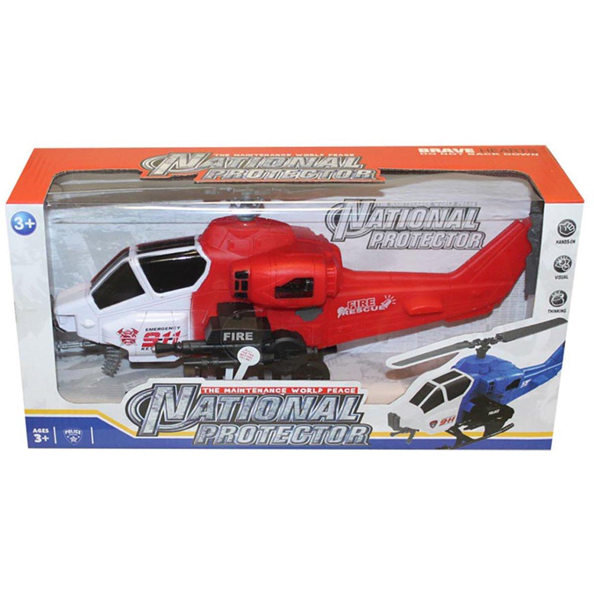 Elicopter cu semnale luminoase Unika Toy, Rosu, 36 cm