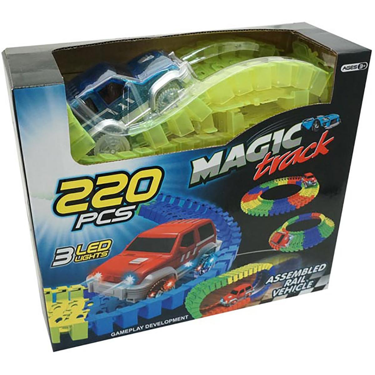Set de joaca Circuit cu masinuta Unika Toy, 220 piese