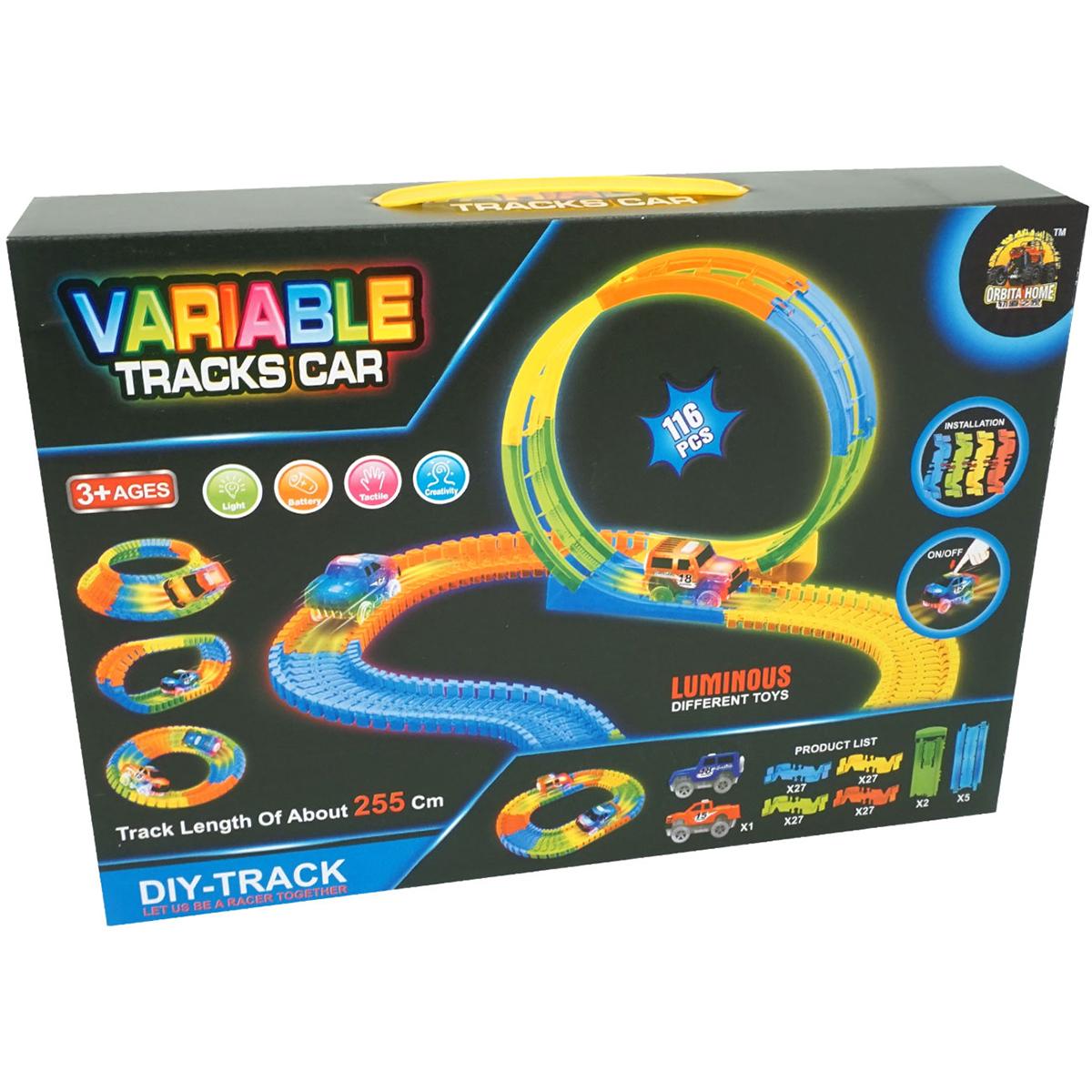 Set de joaca Circuit cu masinuta Unika Toy, 116 piese