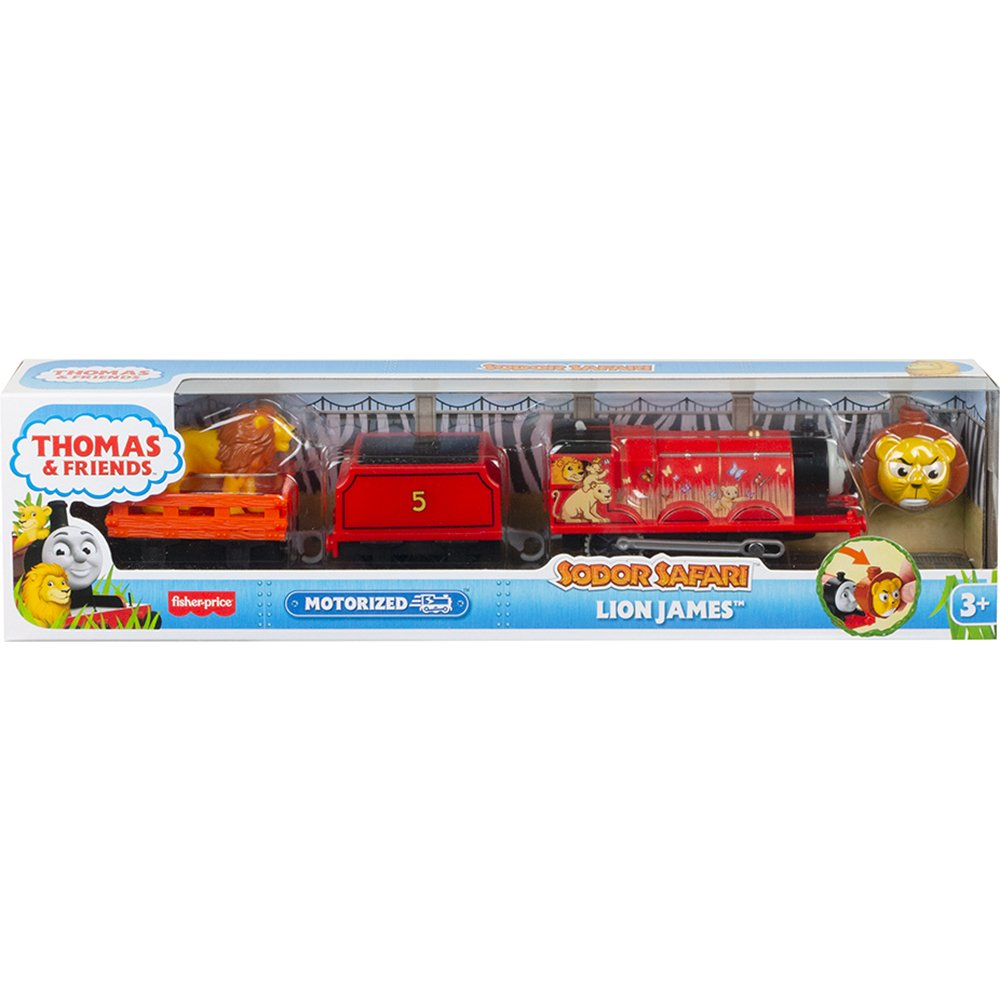 Locomotiva motorizata Thomas and Friends, Safari cu animalute, Lion James