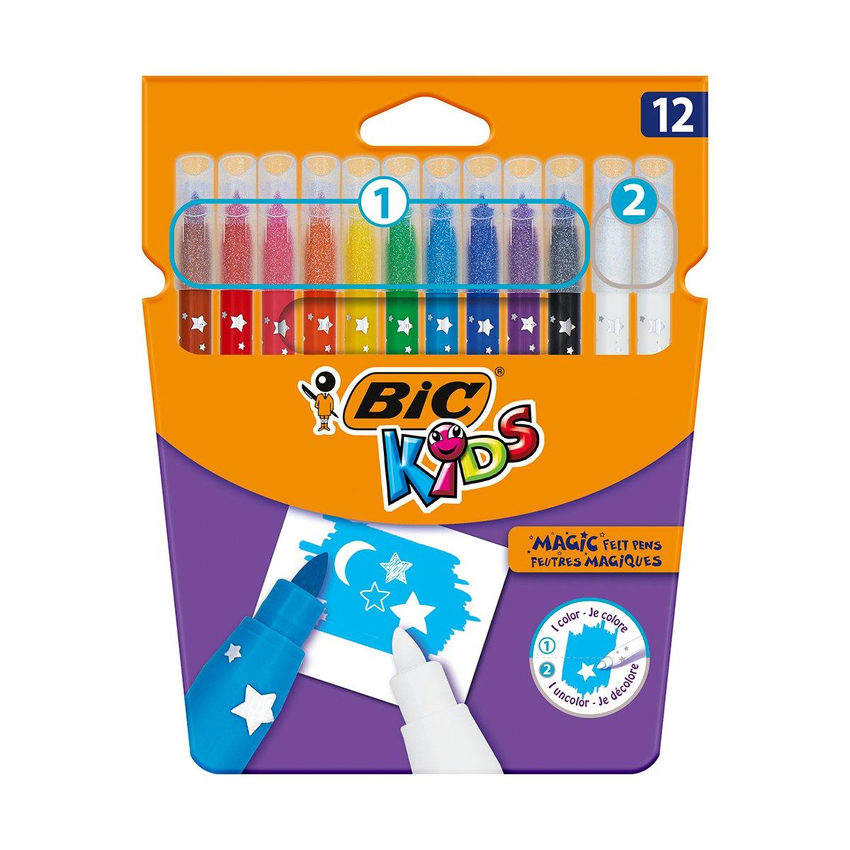 Set carioci multicolore si radiera Colour Erase Bic, P12