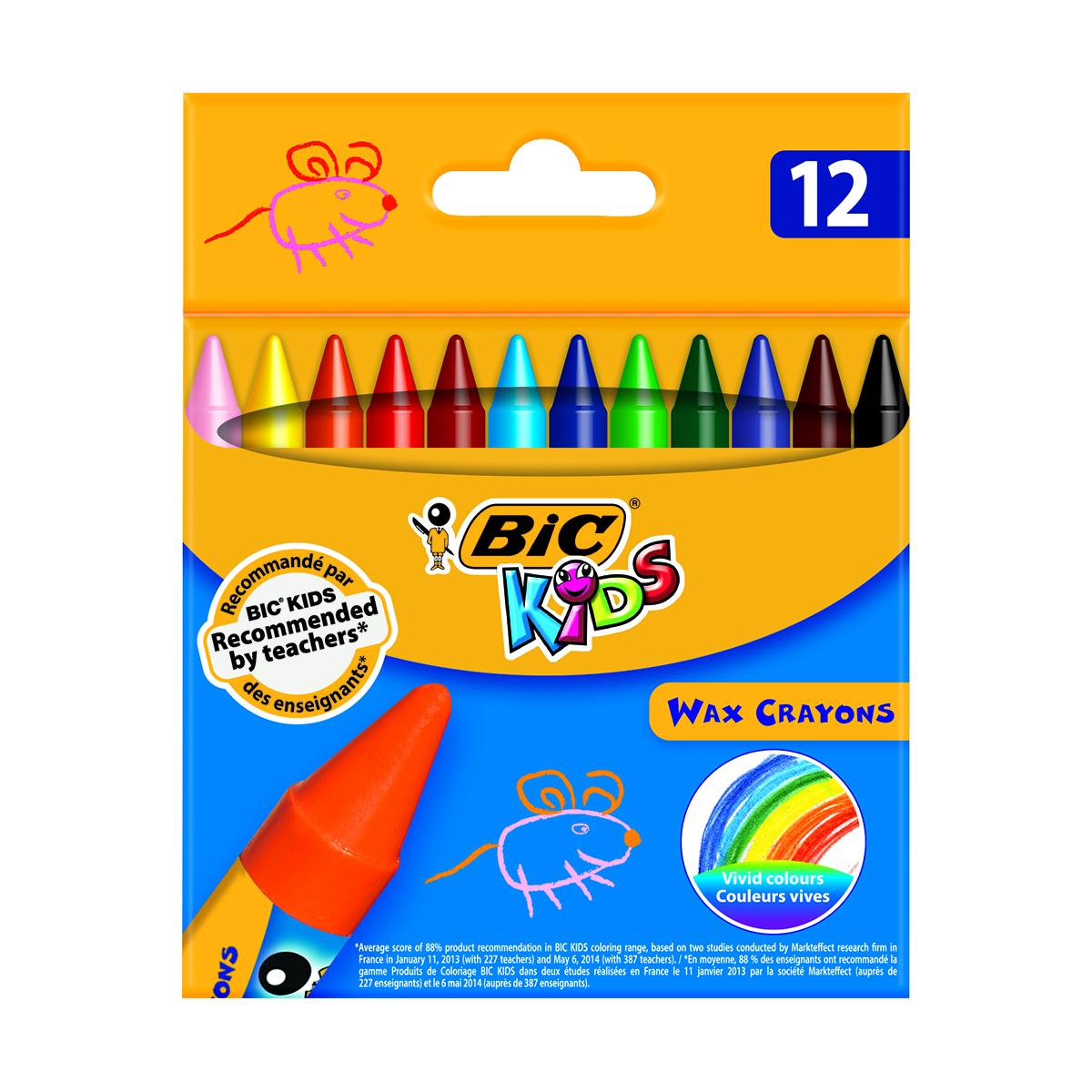 Set creioane cerate Wax Crayons Bic, P12