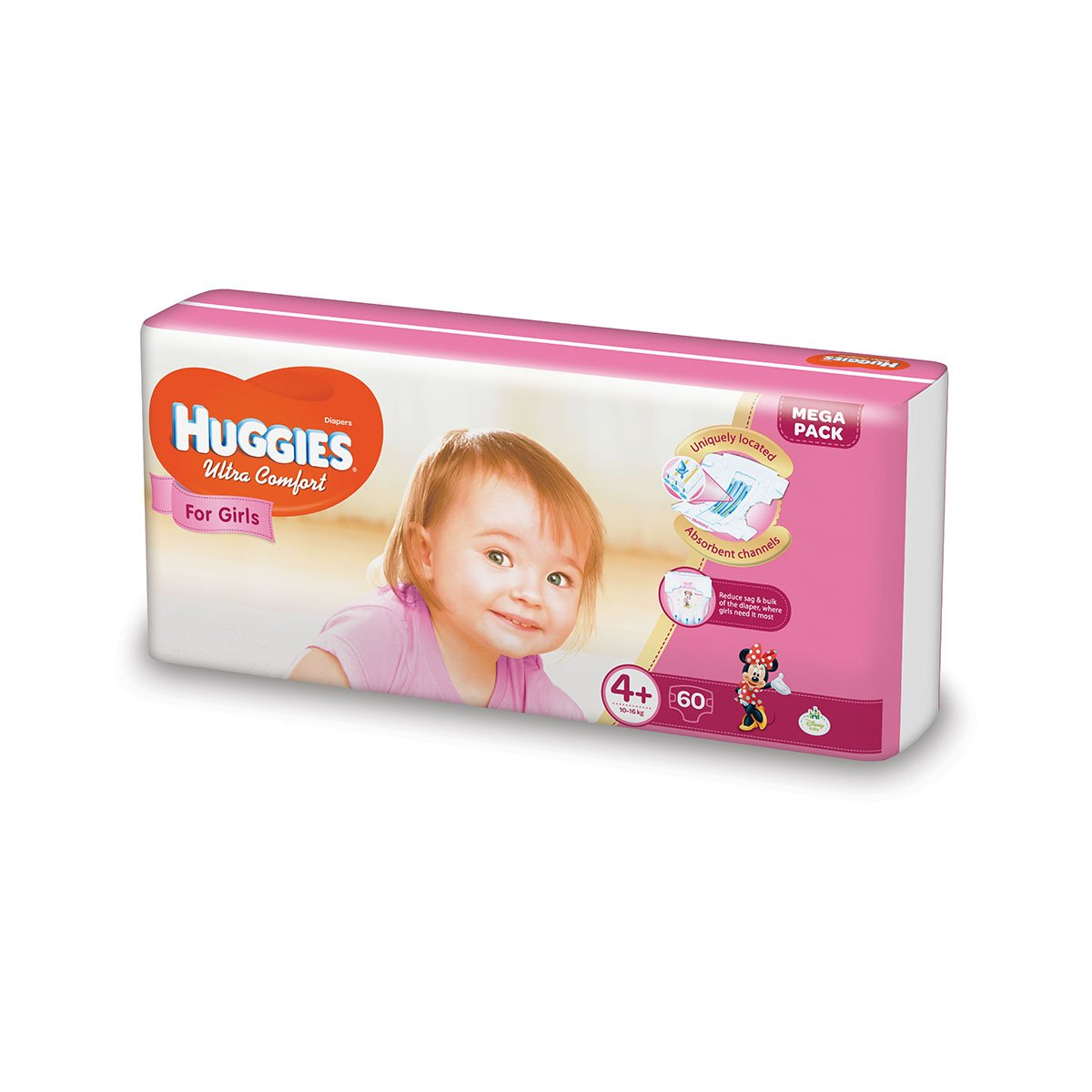 Scutece Huggies Mega Comfort Girls, Nr 4+, 10 - 16 Kg, 60 buc imagine