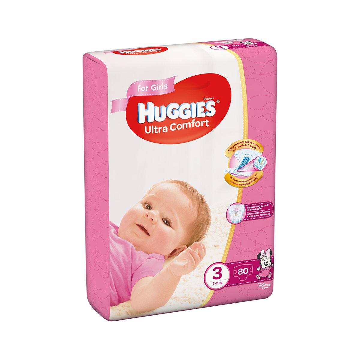 Scutece Huggies Mega Comfort Girls, Nr 3, 5 - 9 Kg, 80 buc imagine