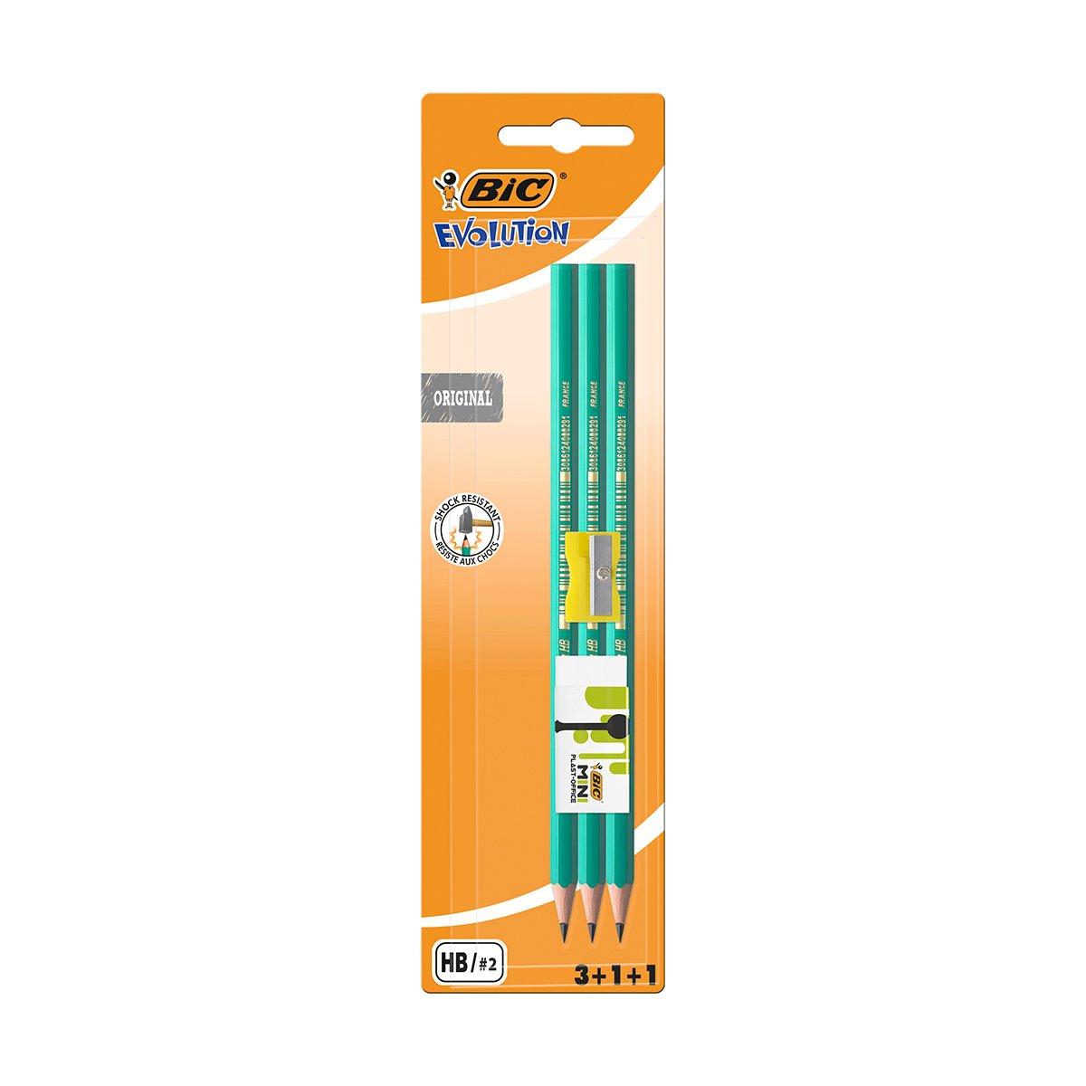 Set 3 creioane cu radiera si ascutitoare Evolution Bic