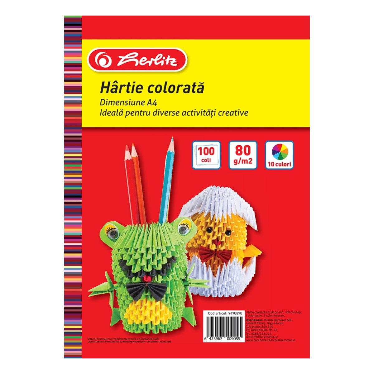 Top hartie colorata, Herlitz, A4, 100 coli, 80 g
